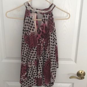 Tops - Pink leopard print tank top with glitter collar